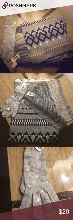 Old Navy Scarf & Gloves Brand new Aztec print scarf and foil print gloves. Extremely soft and warm. Old Navy Accessories Scarves & Wraps
