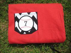 Baseball Pocket Tee, Monogram Tee, Chevron Pocket Tee, Baseball Mom Shirt on Etsy, $20.00