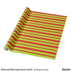 Thick and Thin Lime Green and Red Stripes Wrapping Paper