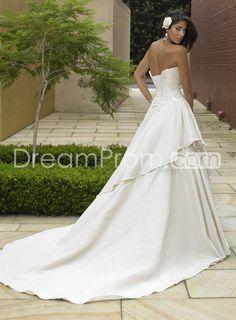 Princess Strapless Floor-length Chapel Train Taffeta Wedding Dresses