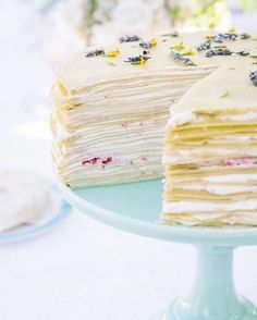 Lavender-topped crepe cake