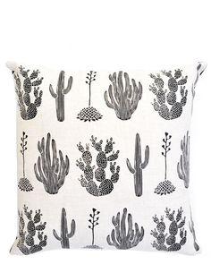 Cactus Print Linen Pillow