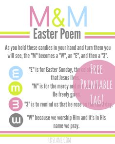 images sunday school Free Printable: Easter M & M Poem Tags - U Create Sunday School Lessons, Sunday School Crafts, School Daze, Easter Poems, Jesus Easter, Easter Quotes, Easter Religious, Easter Story, Easter