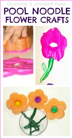 Make beautiful Spring flowers a few different ways using pool noodles- these make great kid made gifts for Mother's Day too!