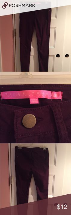 Tinseltown eggplant skinny jeans Used in perfect condition!   •63% Cotton, 34% Polyester, 3% Spandex •Waist is 14.5 inches •Inseam is 30 inches  ⚜️NO TRADES ⚜️OFFERS WELCOMED! ⚜️BUNDLE TO SAVE ⚜️FEEL FREE TO ASK ANY QUESTIONS! Jeans Skinny