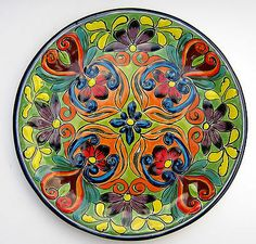 "Mexican Pottery Decorative Wall Decor Plate 11 3 4"" Diameter 