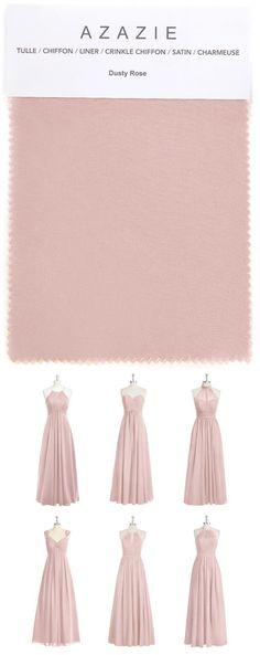 Azazie Dusty Rose Swatch (in 6 fabrics) Pink, dusty rose, chiffon, mesh, lace, tulle, satin Bridesmaid dress, Wedding, Wedding gown