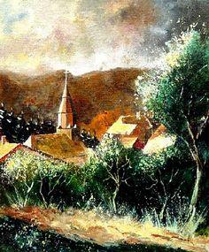 Artwork >> Pol Ledent >> Our Village Ardennes Belgique #artwork, #masterpiece, #painting, #contemporary, #art, #nature, #houses