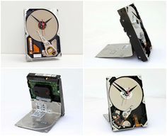 Real 3 1/2 inch computer hard drive converted into a desk clock with a quartz drive movement installed. The clock …