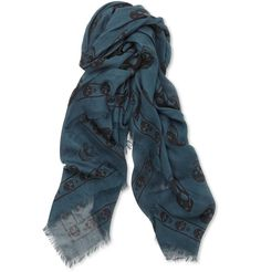 Alexander McQueen - Skull-Print Modal and Cashmere-Blend Scarf - $445.00