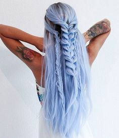 133 blue ombre hair color trend – page 33 Face Shape Hairstyles, Box Braids Hairstyles, Pretty Hairstyles, Straight Hairstyles, Hairstyle Ideas, Mermaid Hairstyles, Long Haircuts, Curly Hair Styles, Natural Hair Styles