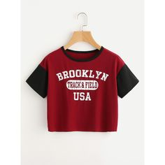 SheIn(sheinside) Slogan Print Contrast Sleeve Ringer Tee (2.095 HUF) ❤ liked on Polyvore featuring tops, t-shirts, burgundy, summer tees, burgundy t shirt, short sleeve tee, red tee and short sleeve t shirt