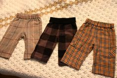boy baby pants made from flannel shirt sleeves