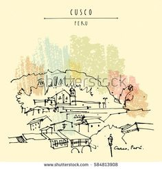 Plaza de Armas in Cusco, Peru. Old town center. Beautiful Inca capital and Spanish city in Andes mountains. Vintage artistic hand drawn postcard, poster template, book illustration in vector