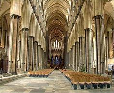 This is the nave of Salisbury Cathedral.  It beautifully showcases many of the elements of Gothic architecture, including pointed arches and tall ceilings.