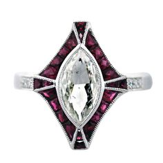 1stdibs - 1 Carat Marquise Cut Diamond Platinum Ruby Engagement Ring explore items from 1,700  global dealers at 1stdibs.com