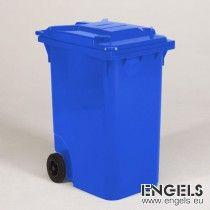2-wiel container, 600x890x1100 mm, 360 ltr, met deksel, blauw