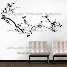 Black Cherry Blossom Tree Peel And Stick By Artwalldecor On Etsy 39 00 Cherry Blossom Tree Removable Vinyl Wall Decals Wall Decor