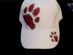 SALE Ultimate BLING White Glitter Paw Print Baseball Hat Cap