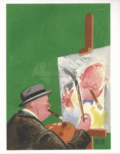 Churchill Paints His Self Portrait BY AL HIRSCHFELD
