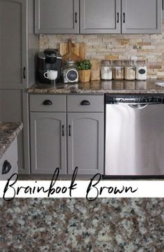 Browns and greys for a rustic or vintage kitchen and home. Cheap counter for renovation or remodel Repainting Kitchen Cabinets, Dark Grey Kitchen Cabinets, Taupe Kitchen, Kitchen Cabinet Colors, Kitchen Colors, Brown Granite Countertops, Cheap Countertops, Dark Counters, Countertop Options
