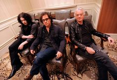 From left: Jack White, Director Davis Guggenheim and Jimmy Page for promo shot for IMGL.