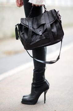 black-out handbag || need the boots and Yes on the purse
