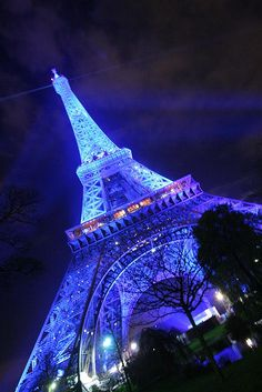 The Eiffel Tower lit up in blue and gold when France held the rotating presidency of the European Union. (second half of 2008)