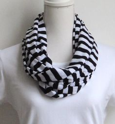 Striped Infinity Navy blue Scarf - Nautical Loop Navy Blue, White Stripes - Lightweight Summer Scarf