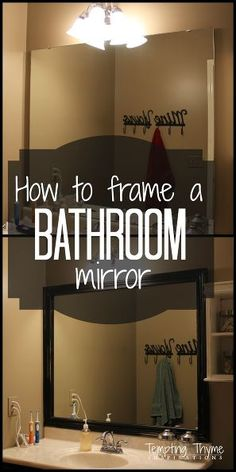 Home Improvement DIY: BATHROOM on a budget; how to frame a builder grade bathroom mirror, bathroom ideas, diy, home improvement, woodworking projects Diy Home Decor Rustic, Easy Home Decor, Cheap Home Decor, Country Decor, Home Improvement Projects, Home Projects, Home Improvements, Home Renovation, Home Remodeling