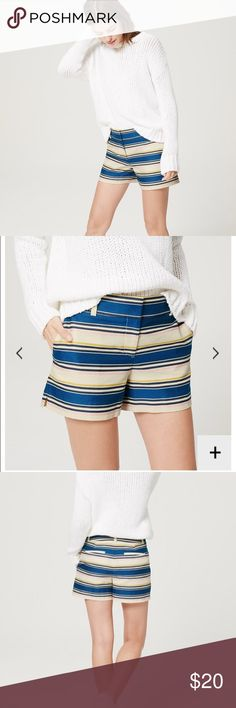 """⭐️Shorts⭐️ ⭐️Adorable multi-colored striped LOFT shorts⭐️Only worn once⭐️In excellent conditon⭐️Zip fly with bar and hook closure⭐️Belt loops⭐️Side Pockets⭐️4"""" Inseam⭐️No Trades LOFT Shorts"""
