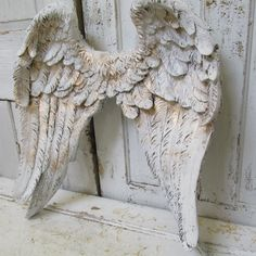 Large angel wings wall sculpture hand painted white accented