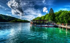 Download wallpapers Plitvice Lakes, beautiful lake, summer, forest, trees, ship, Croatia, Plitvice Lakes National Park