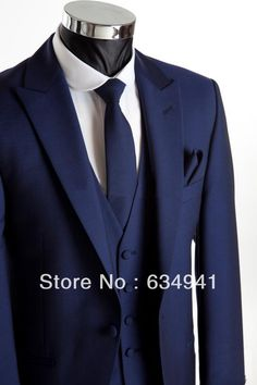 Free EMS!Top Sale Royal Blue One Button Groom Tuxedo Best Man Peak Lapel Groomsmen dress Men Wedding Suit(Jacket+Pants+Tie+Vest) US $116.98