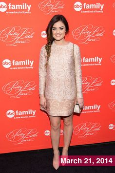Lucy Hale wears this playful blush-pink dress in New York. Isn't this look the perfect way to say hello spring?