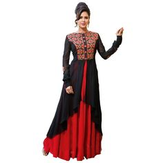 Georgette Machine Work Black & Red Semi Stitched Long Anarkali Suit - Bt10 In Stock: Rs 1,224