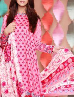 Buy Pink Printed Viscose Linen Dress by Nishat 2015.