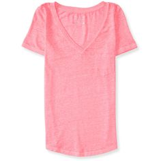 Aeropostale V-Neck Pocket Tee ($3.99) ❤ liked on Polyvore featuring tops, t-shirts, shirts, knockout pink neon, t shirts, v neck t shirts, tee-shirt, fluorescent t shirts and pink t shirt
