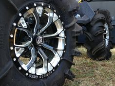 """Gloss Black Positive Venoms with Bullet Edge and """"Gorilla Axle"""" engraved on edge with head in center Can Am, Atv, Bullet, Wheels, Black, Black People, Bullets"""