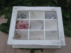 jewelry box vintage, Creamy Shabby Chic Home Decor Wooden Jewelry Box Could be used as shadowbox??