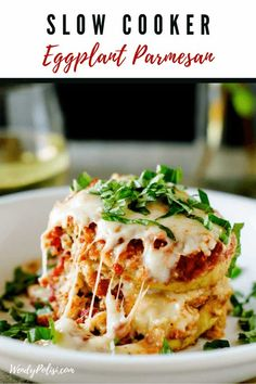 You are going to go nuts for this Slow Cooker Eggplant Parmesan! You know your crock pot is a lifesaver, but you may not have known that you could make your favorite comfort food in it. This easy gluten free recipe will become a favorite. Slow Cooked Meals, Healthy Slow Cooker, Slow Cooker Recipes, Cooking Recipes, Crockpot Recipes, Slow Cooking, Freezer Meals, Casserole Recipes, Chicken Recipes