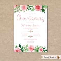 A personal favourite from my Etsy shop https://www.etsy.com/uk/listing/253400418/christening-invitation-girls-baby-babies