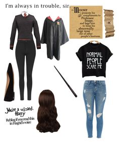 """""""HARRY POTTER OC"""" by lilypixels ❤ liked on Polyvore featuring mode, Topshop, Chloé, Frame Denim et WigYouUp"""