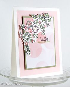 Hello - Flowers and Dots Altenew Cards, Birthday Cards For Women, Flowering Vines, Copic Markers, Creative Cards, Greeting Cards Handmade, Pretty Little, Cardmaking, Card Stock