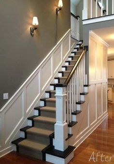 10 Creative Ideas Can Change Your Life: Wainscoting Styles Half Walls wainscoting stairs home.Colonial Wainscoting Home wainscoting living room board and batten.Colonial Wainscoting Home. Wainscoting Hallway, Entryway Stairs, Basement Stairs, Wainscoting Ideas, Painted Wainscoting, Black Wainscoting, Wainscoting Nursery, Painted Stairs, Open Basement