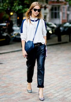 The Sporty Way to Wear Your Leather Trousers via @WhoWhatWear