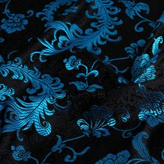 "Feather Brocade. Blue Brocade. Black brocade fabric. Chinese fabric. Asian fabric. Oriental fabric. Fabric Wholesale.  29"". SBJ100006"