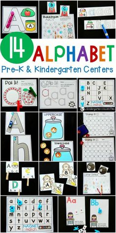These 14 Print and Play Alphabet Centers are perfect for Pre-K and Kindergarten classrooms to explore letters! Kindergarten Centers, Preschool Literacy, Preschool Letters, Learning Letters, Kindergarten Reading, Kindergarten Crafts, Letters Kindergarten, Classroom Decor, Kindergarten Literacy Activities