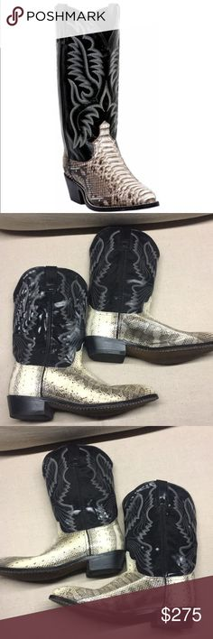 Laredo Snakeskin Cowboy Boots Only worn 2 times, like new real snake skin boots. Authentic Laredo Boots men's size 10. Reasonable Offers are welcomed and I love to bundle so check out the rest of my closet and no trades or holds please. Laredo Shoes Cowboy & Western Boots