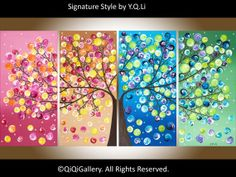 Large Abstract Painting acrylic Impasto landscape Painting four seasons Canvas Tree Painting by qiqigallery on Etsy, $365.00